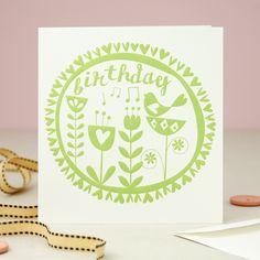 Folklore Birthday Card - Green