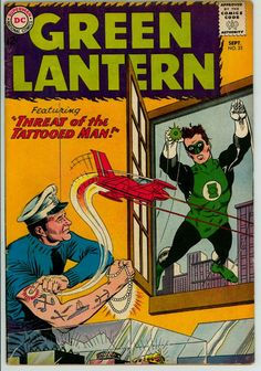 "markrosehfx: Classic Comic Book Cover - Green Lantern Vol 2 by Gil Kane ""Threat of the Tattooed Man"" Dc Comic Books, Comic Book Covers, Comic Book Characters, Comic Book Heroes, Comic Character, Comic Art, Green Lantern Green Arrow, Green Lantern Comics, Green Lantern Hal Jordan"
