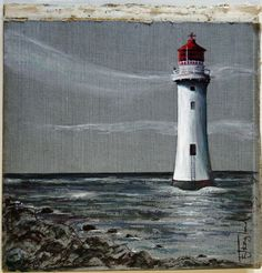 Lighthouse original acrylic on Bookcover by Lis England Oil Water, Lighthouses, Acrylics, Ramen, Emerald, England, Paintings, Wine, Mugs