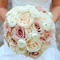 You could replace the blush roses with pale lavender ones. That would be beautiful. You said you LOVE ranunculus. They are the small white flowers