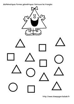 find the same Learning Shapes, Kids Learning, Le Triangle, Printable Mazes, Free Printable, French Worksheets, Alphabet Writing, Cursive Handwriting, School Tool