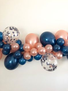 DIY Balloon Garland Rose Gold Navy Balloons Balloon Garland - Decoration For Home Baby Shower Parties, Baby Shower Themes, Baby Shower Decorations, Gender Party, Baby Gender Reveal Party, Birthday Balloons, Birthday Parties, Navy Bridal Shower, Kit Rose