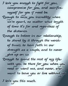 This is my marriage. Bobby, I love you enough... 24 years and counting to forever. Thank you for loving me