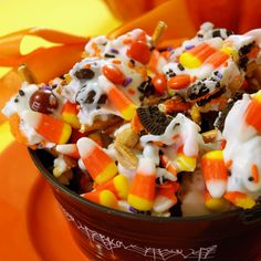 Candy Corn Crunch- I don't love candy corn, white chocolate, or oreos, so this wasnt something I really liked, but it looks very festive and others gobbled it up!