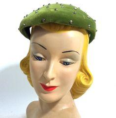 Studded Moss Green Velvet Cocktail Hat circa 1950s - Dorothea's Closet Vintage