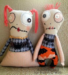 Sewing - Tutorial on Boy and Girl zombie softie dolls. From therm-o-web via Craft Gossip.
