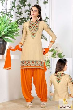 Dress up for casual evening party with beige orange embroidered patiala punjabi suit with cotton fabric. This graceful looking everyday wear dress material best attire for housewife and college girls. #formaldresses, #punjabistyle, #dailywearsalwarsuit, #officewearsalwarsuit, #patialasalwarkameez More Info.: http://www.pavitraa.in/store/casual-dress/ Any Query: Call Us:+91-7698234040 E-mail: info@pavitraa.in