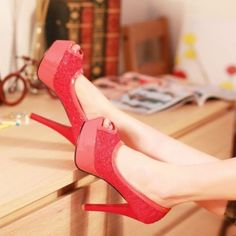 US$ 75 Womens Sexy Lace Peep Toe Slip On High Heel Platform Pumps Court Party Shoes