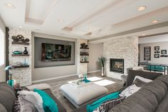 This basement remodel utilizes color to bring the space to life. It features a home theater, home gym, bathroom and wet bar. Home Theater Setup, Home Theater Rooms, Home Theater Design, Home Theater Seating, Theater Seats, Gym Design, House Design, Finished Basement Company, Finishing Basement Walls