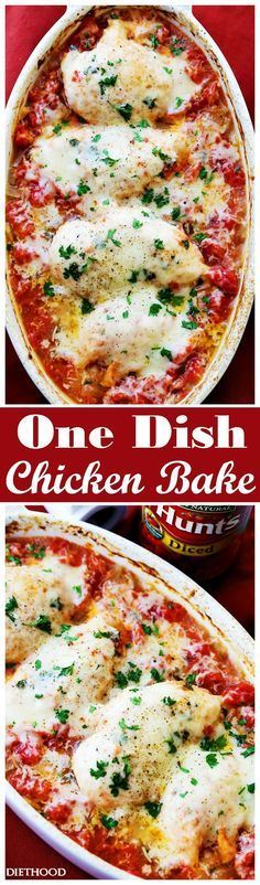 One Dish Chicken Bake Recipe - Flavorful chicken baked on a bed of tomatoes and covered in cheese makes for a one-dish dinner the whole family will enjoy.