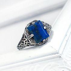 Caroline: Sterling Silver and Lapis Lazuli ring - blue gem, antique, victorian, sunlight protection ring, Vampire Diaries, filigree design