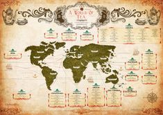 A World of Tea: The oldest herbalist in London have mapped the origins of the most popular teas from around the world in the style of an old colonial map.