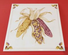 Vintage 1984 Shades of Autumn Corn Tile  Decorative Wall Tile from Avon 6in