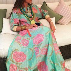 Getting Ready for Ramadan  caftan by @rummanajeddah necklaces from @bow.couture  ربي بلغنا رمضان من غير ان نرى دمعة حبيب ولا فراق غالي