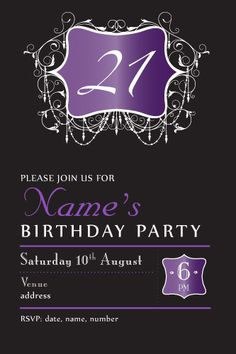 Th Birthday Invitations Evening Chic Party Invitations And - 21 birthday invitation templates