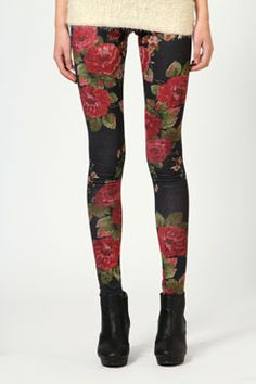 Boohoo.com floral print leggings (reminds me of the print on the carpet growing up)