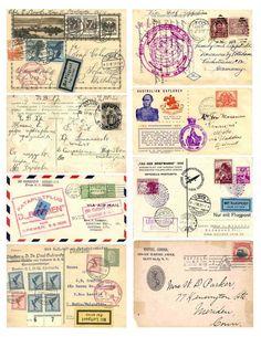 Vintage Labels Free Vintage Images - Postal Collage by Elzabeth Vintage Labels, Vintage Ephemera, Vintage Paper, Vintage Postcards, Printable Vintage, Vintage Stamps, Printable Postcards, Graphics Vintage, Freetime Activities