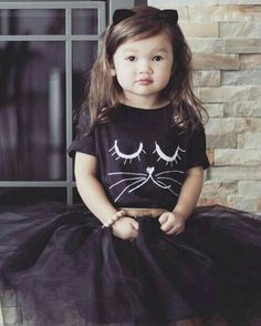 Our hand-drawn kitty has long lashes and purrrs. This soft, cotton kids t-shirt looks great with anything.jeans, tights, khakis and shorts alike. Cat Costume Kids, Kids Costumes Girls, Cat Costumes, Kids Outfits, Halloween Costumes, Cat Birthday, Birthday Tutu, Birthday Party Themes, Kitty Party