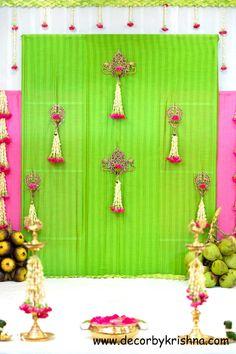 Simple Stage Decorations, Wedding Stage Decorations, Engagement Decorations, Backdrop Decorations, Flower Decorations, Festival Decorations, Ganpati Decoration Design, Indian Decoration, Cradle Ceremony