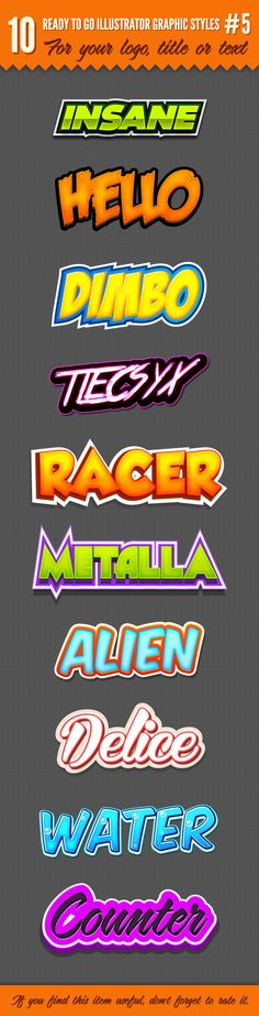 10 Logo Graphic Styles for Adobe Illustrator #design #ai Download: http://graphicriver.net/item/10-logo-graphic-styles-5/4833383?ref=ksioks