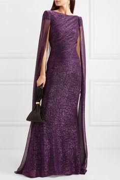 Talbot Runhof   Cape-effect draped metallic voile gown   NET-A-PORTER.COM