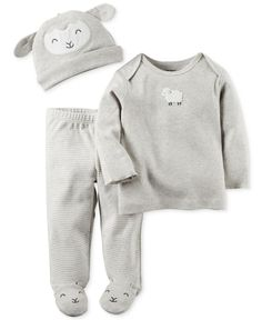 Carter's Baby Boys' or Baby Girls' 3-Pc. Little Lamb Hat, T-Shirt, & Footed Pants Set