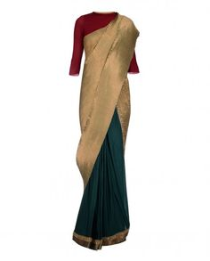 Kiran Uttam Ghosh Teal Green and Golden Pleated Saree with Sequins Work Indian Attire, Indian Ethnic Wear, Indian Style, Indian Dresses, Indian Outfits, Indian Clothes, Ghagra Saree, Kanjivaram Sarees, Silk Sarees