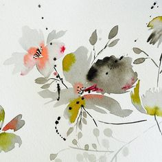 Florals painted in grey Abstract Watercolor, Watercolor And Ink, Watercolor Flowers, Watercolor Paintings, Watercolours, Floral Illustrations, Illustration Art, Decoupage, Diy Canvas