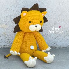 ami_amour:: It's Kon!  He's a pretty big size (as lions usually are) and sits at about 2 ft tall! Pattern and plush both available in my Etsy and Ravelry shop . #amiamour #Kon #lion #amigurumi #crochet #bleach #anime #amigurumipattern #crochetpattern #handmade #etsy #etsylove #etsyseller #ravelry #plush #stuffedanimal #roar #safari