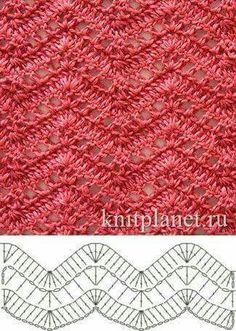 Open Lacy Ripple Stitch - Free Crochet Diagram - (knitplanet) by LuEllen Bateman Crochet Ripple, Crochet Diy, Crochet Motifs, Crochet Stitches Patterns, Crochet Diagram, Crochet Chart, Love Crochet, Knitting Stitches, Crochet Designs