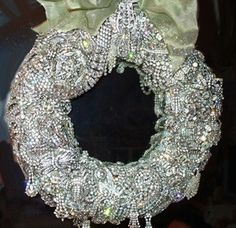 Gorgeous rhinestone wreath constructed of dazzling vintage rhinestone jewelry.