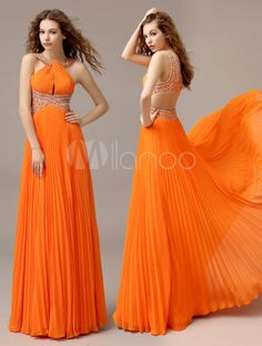 Milanoo Coupons: Orange Chiffon A-line Draped Prom Dress with Halter SleevelessVarious types of dresses and there styles I Dress, Dress Outfits, Fashion Dresses, Orange Dress, Orange Prom Dresses, Evening Dresses, Formal Dresses, Types Of Dresses, African Dress