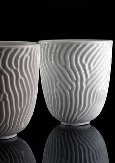 Reaction Cup - porcelain with reaction-diffusion texture by nervous system, via Flickr