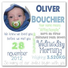 Birth Detail prints make such a lovely keep-sake. Record your baby's birth details with a cute photo all printed onto canvas or vinyl. Personalised Prints, Wednesday Morning, Baby Birth, Cute Photos, All Print, Wooden Frames, Meet You, Children, Kids