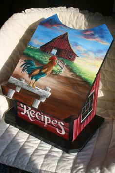 Country farm wood recipe box with rooster crowing morning sunrise and barn painting by sherrylpaintz. Rooster Painting, Tole Painting, Painting On Wood, Painting & Drawing, Arte Country, Pintura Country, Country Crafts, Painted Boxes, Hand Painted