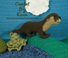 Ravelry: Otter pattern by Karin Athanas (paid crochet pattern) Crochet Amigurumi Free Patterns, Crochet Dolls, Cute Crochet, Crochet Baby, Stuffed Animal Patterns, Dinosaur Stuffed Animal, Nautical Crochet, Crochet Animals, Otters