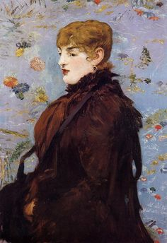 Autumn, Portait of Mery Laurent in a Brown Fur Cape.1881.by Edouard Manet