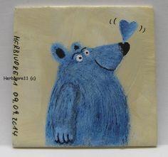 VERLIEBTES BÄRCHEN von Herbivore11 blauer Bär Liebe Minibild kleine Kunst Bären