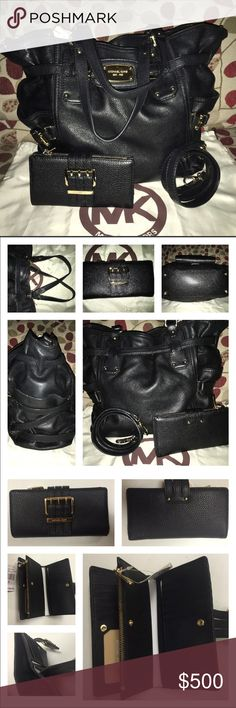 Michael Kors LG N/S Ganesvoort Bag & Wallet EUC MK LG N/S Ganesvoort Bag & NWT Wallet w/ Shiny Gold Hardware! Black Pebbled Soft Leather, Logo lined, 1 zip, multiple slip pockets, the exterior has a open pockets at each end! Generous w/ Pockets & Room! Gold belted buckle accents are amazing! Magnetic closure! Minimal scratches on feet & 1 tiny one on the plate, light rub on corners, have to look real close Wallet has 11 slots for cards, 1 clear for ID, zip pocket divider, 3 full size slip…