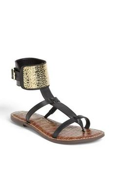 Black metallic sandals