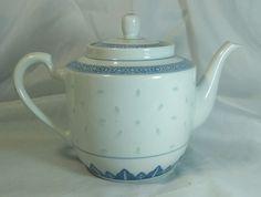 Vintage porcelain Teapot Blue White Rice Pattern China Unique Light goes through