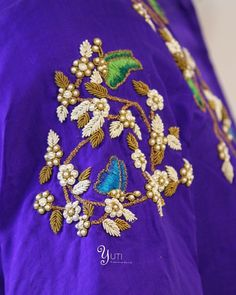 Just when the caterpillar thought the world was over, it became a butterfly! A happy butterfly zardosi embroidered royal blue blouse by YUTI. For Orders and Queries reach us at 044-42179088 / whatsapp: 9789903599 Address: 21, Valmiki street, Thiruvanmyur #zardosi #handembroidery #antique #blousebyYUTIDesignerhouse #blouseembroidery #coppergold #blackandgold #shadesofgold #royalblue #handembroideredborders #yuti #yutidesignerhouse #yutiforbrides #yutiforbridesmaids #sareesbyuti…