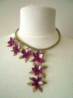 purple floral bib necklaceCrochet NecklaceCrochet by berratosun, $65.00