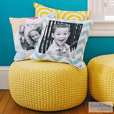 Turn the sofa into a photo gallery! Print your favorite pictures on pillows.