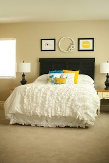 Ruffled Duvet Cover. Made from 2 king sz flat sheets & thrifted sheets & bed skirts!  Totally doing 1 for my room!! BEAUTIFUL!!