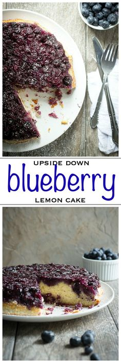 Blueberry Lemon Upside Down Cake. Light and full of juicy blueberries, this cake is amazing | Foodness Gracious