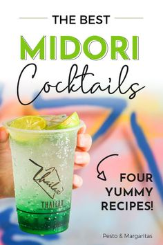 What are The Best Midori Cocktails? - Midori is an unmistakable alcohol with its bright green colour. It is a Japanese melon liqueur and - Best Cocktail Recipes, Sangria Recipes, Drinks Alcohol Recipes, Drink Recipes, Punch Recipes, Classic Cocktails, Cocktail Drinks, Green Alcoholic Drinks, Pina Colada
