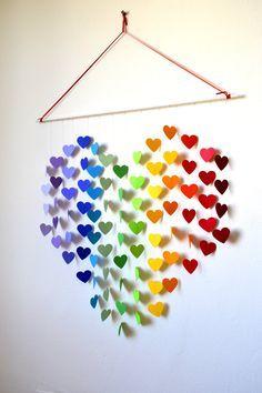 Articles similaires à Mobile coeur arc-en-ciel / Wall Hanging - Nursery bébé Mobile douche Decor & cadeaux / nouveau bébé cadeau / Rainbow Nursery / salle de jeux / cadeau de mariage sur Etsy