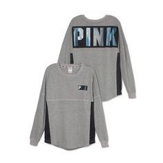 Vs Pink Grey Varsity Crew Brand new with tags. Size Small. Oversized. ❗️Please respect my prices as I don't go off leaving negative comments on other peoples listings regarding their prices❗️ ⚠️Also I do not trade, at all⚠️ People who judge my prices or leave negative comments will be BLOCKED, no exceptions PINK Victoria's Secret Sweaters Crew & Scoop Necks