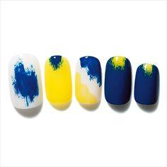 nail blue yellow